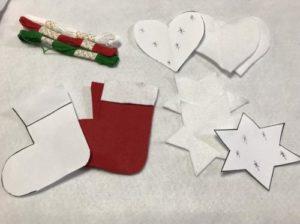 フェルトでクリスマスのオーナメントを作る手順の画像