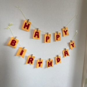 フェルトでお誕生日などのガーランドを手作りする作り方の手順画像
